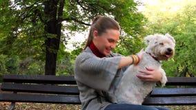 Junge Frau, die ihren weißen Hund im Park im Freien umarmt stock video