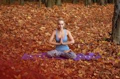 Junge Frau, die im Herbstwald meditiert Lizenzfreie Stockbilder