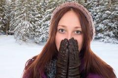 Junge Frau, die im Winter in einem Wald mit Schnee einfriert Stockfotos