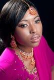 Junge Frau, die indische Kleidung und Schmucksachen trägt Lizenzfreie Stockfotos