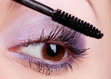 Junge Frau, die Kosmetik auf Wimpern aufträgt lizenzfreie stockfotografie