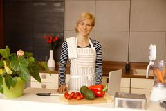 Junge Frau, die Lebensmittel in der Küche zubereitet Lizenzfreies Stockbild