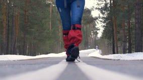 Junge Frau, die mit einem Rucksack im schönen Winterwald, gehend auf eine Asphaltstraße wandert stock video