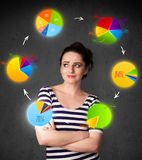 Junge Frau, die mit Kreisdiagrammzirkulation um ihren Kopf denkt Lizenzfreie Stockfotografie