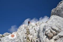Junge Frau, die oben Berge Piatra Craiului klettert stockfotos