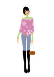 Junge Frau, die purpurrote Schalholdinghandtasche trägt Stockbild