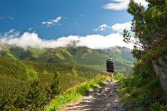 Junge Frau, die schöne Ansicht von Tatras aufpasst Nationalpark Tatras Vysoke tatry slowakei Beschaffenheit von Slowakei Berge lizenzfreies stockbild