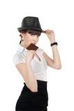 Junge Frau, die Schokolade isst Stockfotos