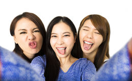 Junge Frau, die Spaß zusammen hat und selfie nimmt stockbild