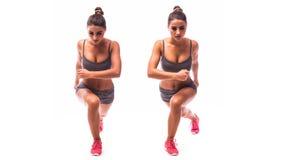 Junge Frau, die Sportübung tut lizenzfreie stockfotos