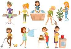 Junge Frau, die verschiedene inländische Arbeiten, Hausfraureinigung, kochend macht und waschen sich und bügeln und kochen Karika lizenzfreie abbildung