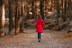 Junge Frau, die weg allein auf einen Waldweg geht stockbild