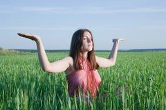 Junge Frau, die Yoga in der grünen Wiese tut Stockbild