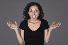 Junge Frau in einem Überraschungsausdruck lizenzfreie stockfotografie