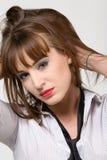 Junge Frau in entferntem Hemd Lizenzfreie Stockbilder