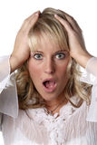 Junge Frau entsetzt Lizenzfreie Stockfotos