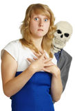 Junge Frau erfährt Furcht vor Tod Stockfoto