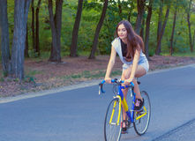 Junge Frau fährt auf ein Fahrrad auf der Straße im Park Lizenzfreies Stockfoto