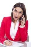 Junge Frau gebohrt bei der Arbeit Lizenzfreies Stockbild