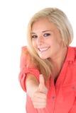 Junge Frau gibt Daumen herauf Zeichen Lizenzfreie Stockbilder