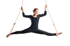 Junge Frau Gymnast auf Seil Stockbild