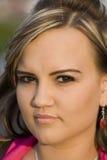 Junge Frau headshot Stockbild