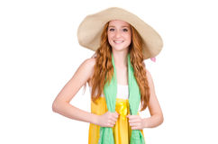 Junge Frau im gelben Sommerkleid Stockbilder
