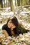 Junge Frau im Herbsthintergrund Stockfotos