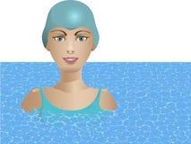 Junge Frau im Pool Stockfotografie