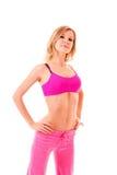 Junge Frau im rosafarbenen Kleid getrennt Lizenzfreie Stockfotografie