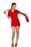Junge Frau im roten Kleid Stockbilder