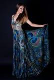 Junge Frau im schönen langen Kleid stockbild