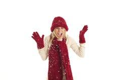 Junge Frau im Schnee stockfotografie