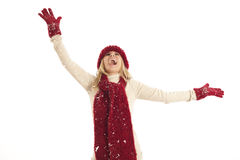 Junge Frau im Schnee lizenzfreies stockfoto