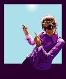 Junge Frau innerhalb des polaroidfeldes Stockfotos