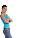 Junge Frau lehnt sich zur Seite Lizenzfreie Stockfotografie