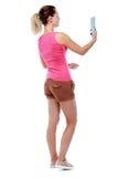 Junge Frau macht selfie auf der Tablette Stockfoto