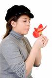 Junge Frau mit Blume Stockbilder