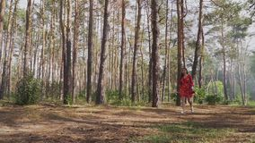 Junge Frau mit Bogen gehend in Wald stock footage