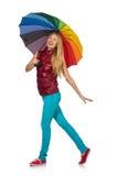Junge Frau mit dem bunten Regenschirm lokalisiert Lizenzfreies Stockfoto