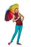 Junge Frau mit dem bunten Regenschirm lokalisiert Stockfotografie