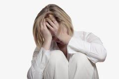 Junge Frau mit dem Burnoutsyndrom Stockfoto