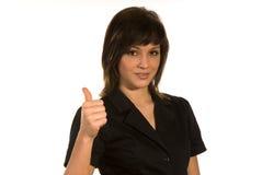 Junge Frau mit dem Daumen oben Lizenzfreies Stockfoto