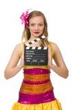 Junge Frau mit dem Filmbrett lokalisiert Stockfotos