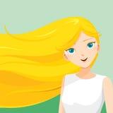 Junge Frau mit dem langen blonden Haar Stockbilder