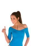 Junge Frau mit den Daumen oben Lizenzfreies Stockfoto