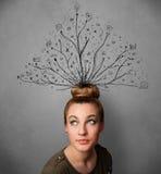 Junge Frau mit den verwirrten Linien, die aus ihren Kopf herauskommen Lizenzfreies Stockfoto