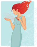 Junge Frau mit Duftstoffflasche Stockfotos