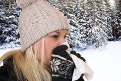 Junge Frau mit einem Kälte- und Grippevirus, das heraus in ein Gewebe niest Lizenzfreies Stockfoto