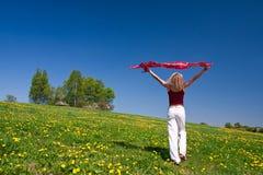 Junge Frau mit einem roten Schal auf einer Wiese Stockfotos